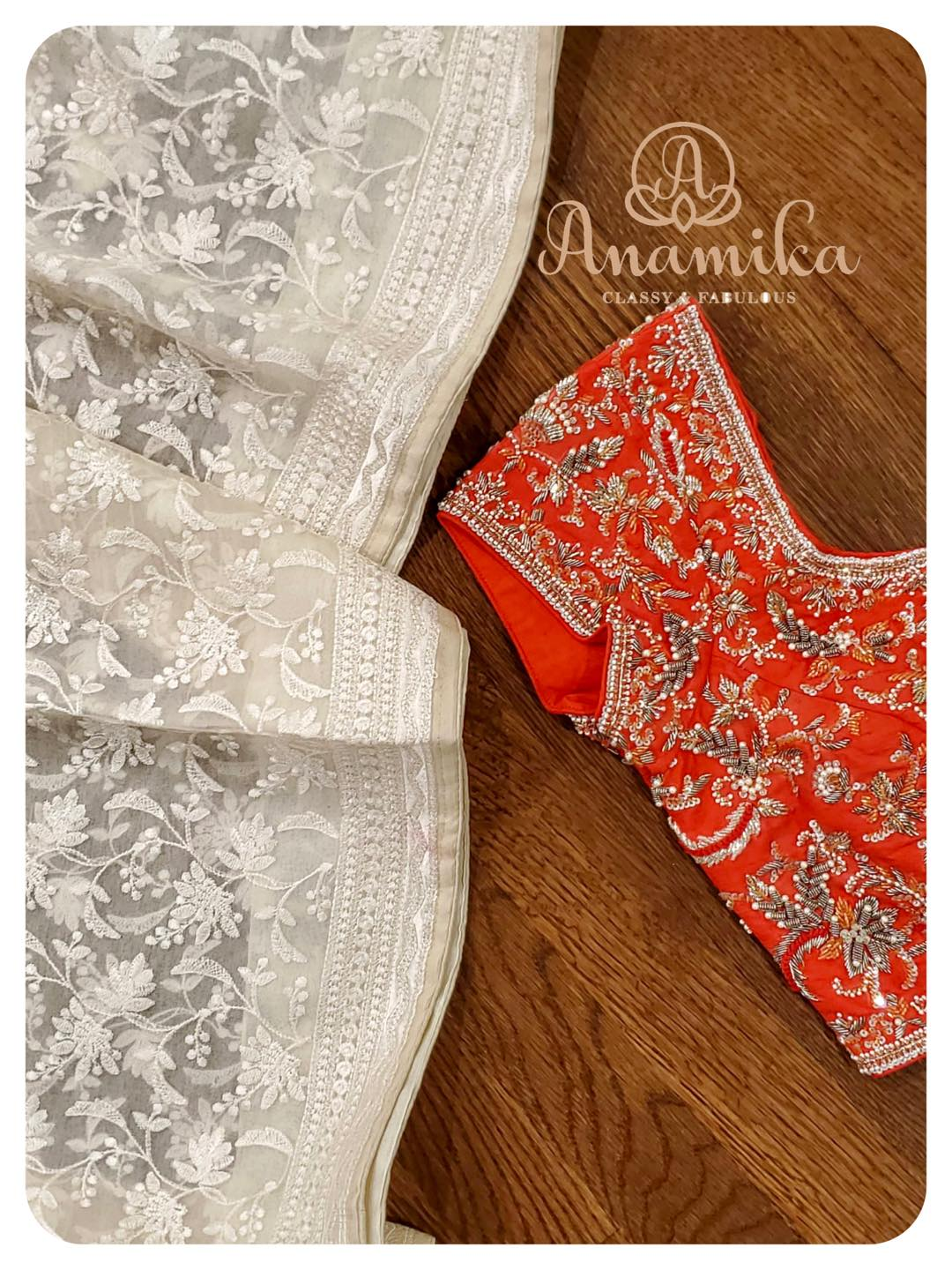 Classiness All Over . Be a style icon in this off-white chikankari saree on organza base. Woah  look at that blouse - just a master piece. A true example of intricacy and workmanship.  Just no words to describe the alluring beauty of this ensemble.  DM 360-535-3636 for inquiries. 2021-05-11