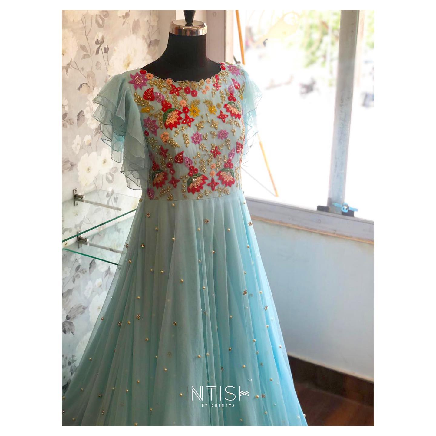 lutters. Colours. Tulle. The things dreams are made of. Tulle floor length gown with hand embroidery work on yoke.  2021-05-11