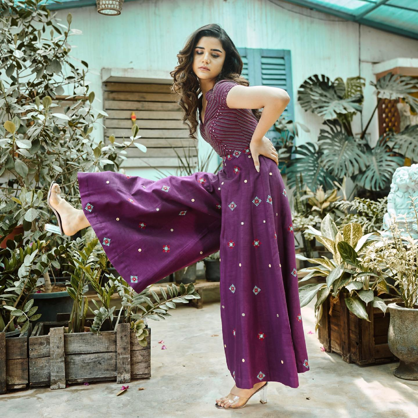 • Phulwari • Regal purple jumpsuit with colourful mirror embroidery. This silhouette is super comfortable airy and perfect for a carefree look.  To shop  new collection Phulwari DM or Whatsapp  on +91 6302 878 533. 2021-05-11