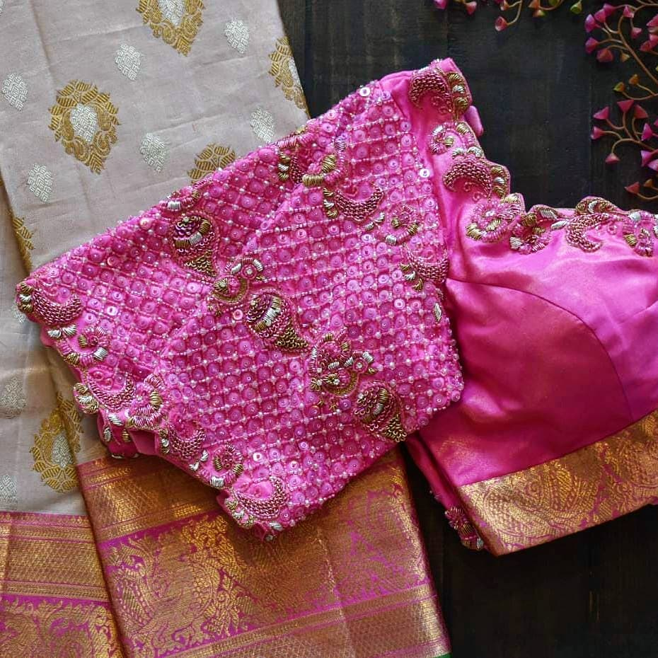 Monotone blouse love love for it.    Here is beautiful creation of pink on hot pink embroidered blouse design with sequins and beads with a traditional Annam twist 2021-05-11