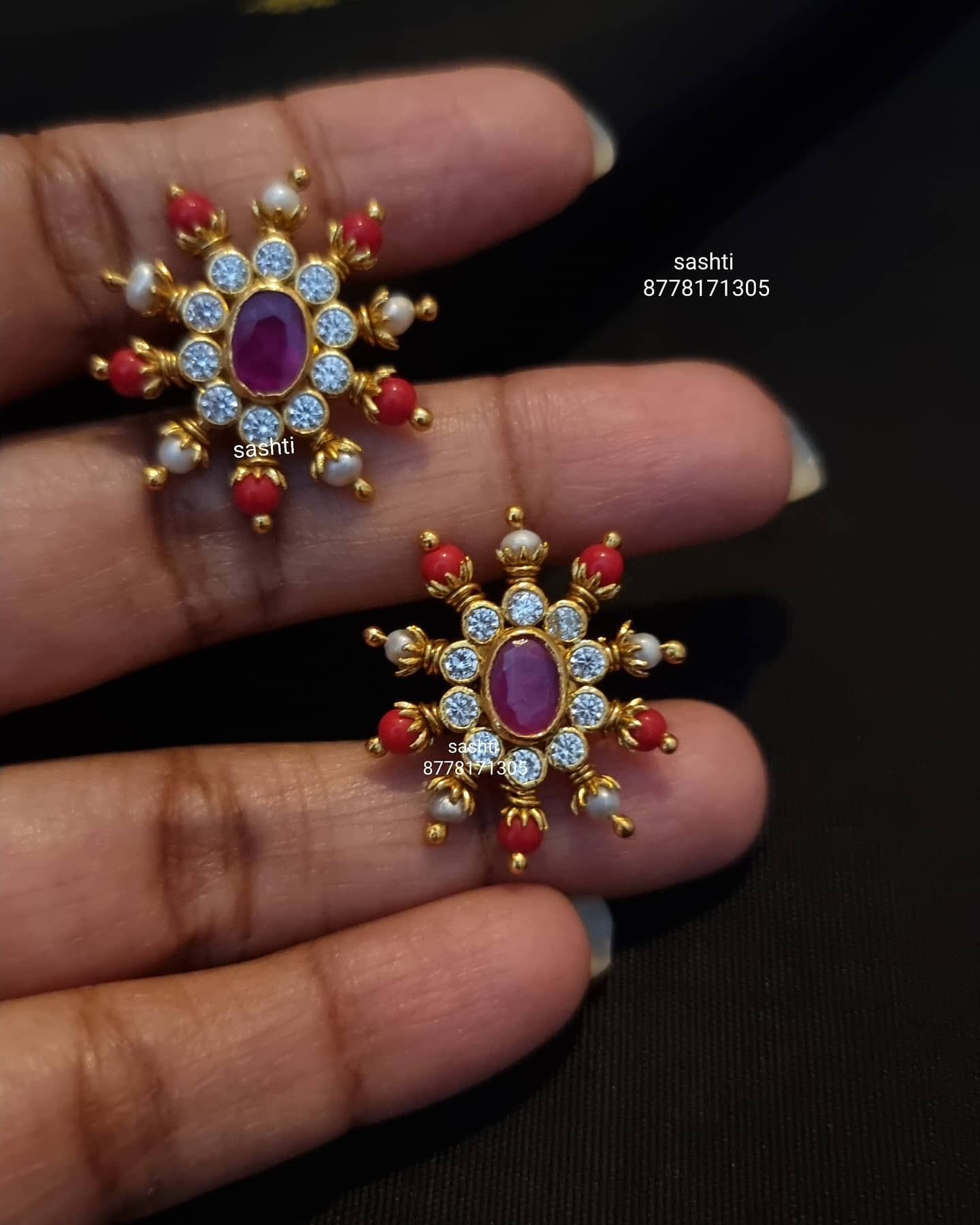 Stunning silver earrings studded multi precious stones. Silver earrings with gold polishing. 2021-05-12