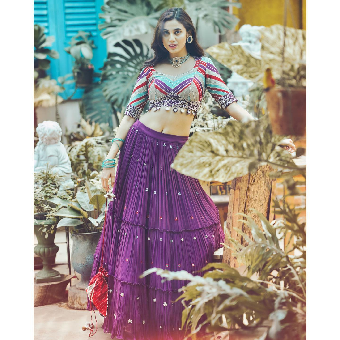 Phulwari . Regal purple crushed tiered lehenga paired with a vibrant patchwork blouse. The lehenga is embellished with a mix of mirror work and coin work making it a must have piece.  To shop new collection Phulwari DM  or Whatsapp on +91 6302 878 533 2021-05-12