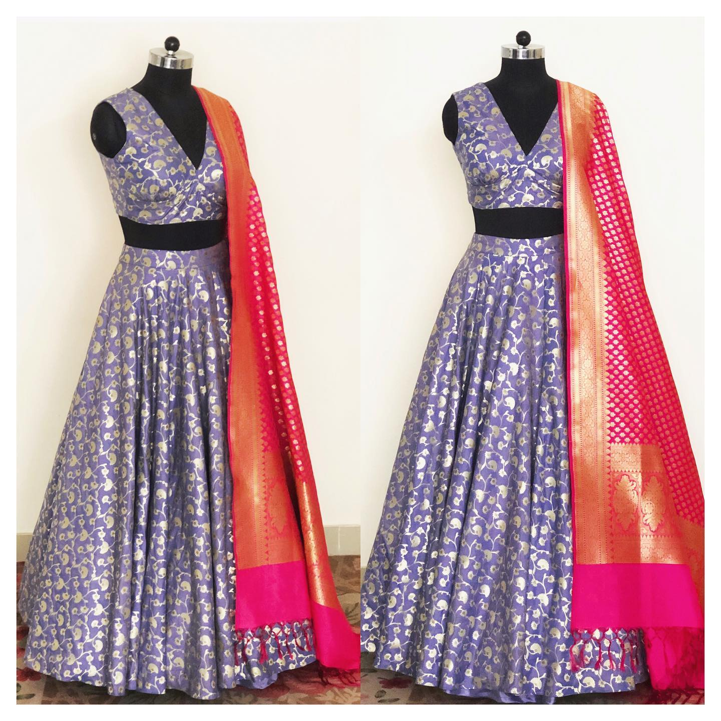 Beautiful lavender floral jaal weaved chanderi lehenga with hot pink Banarasi dupatta. For enquiry  email at shivani@intricado.com or  Whatsapp at +918527463626. 2021-05-12