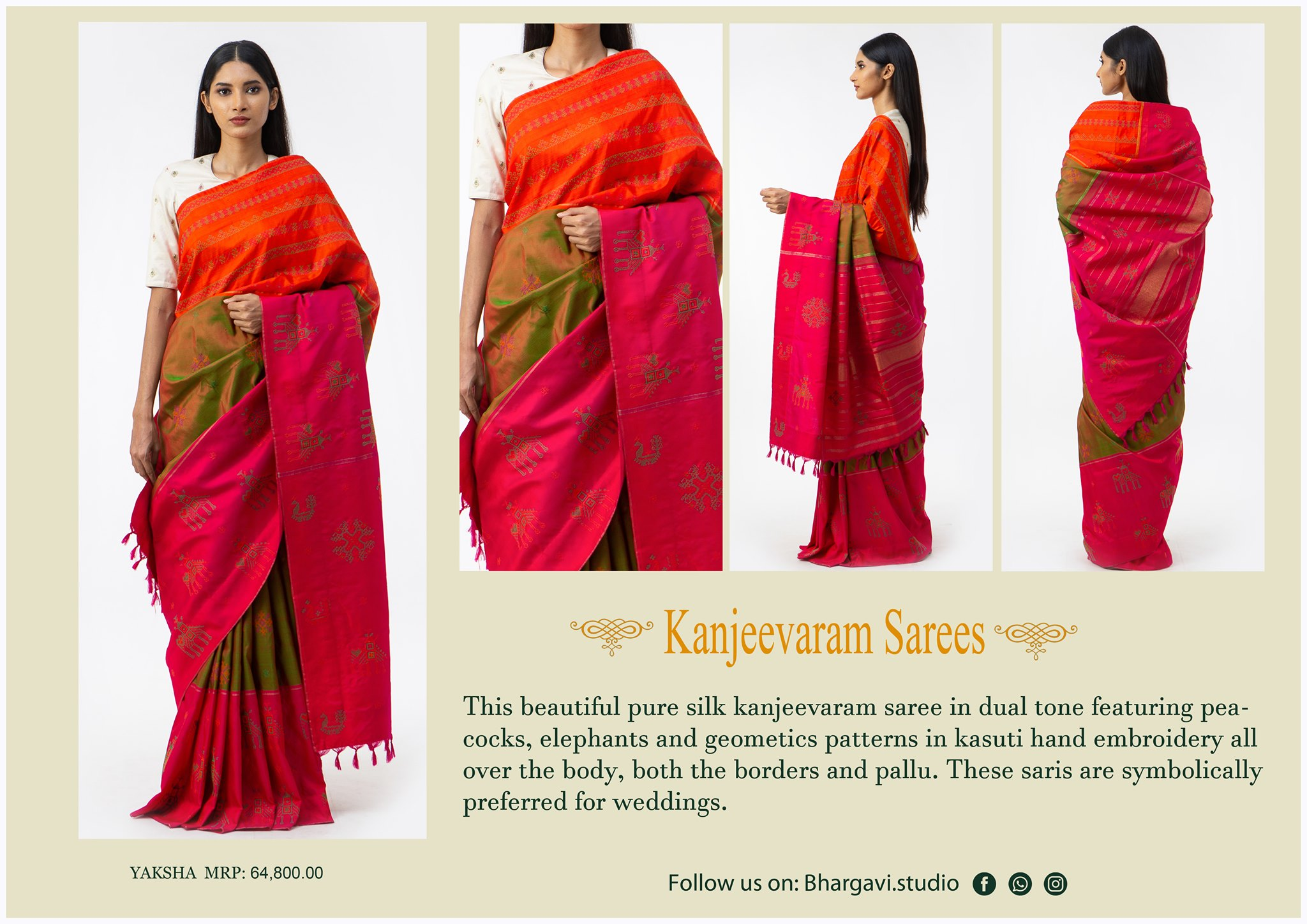 This beautiful pure kanjeevaram saree in dual tone featuring peacocks elephants and geometric patterns in kasuti hand embroidery all over the body both the borders and pallu.  2021-05-13