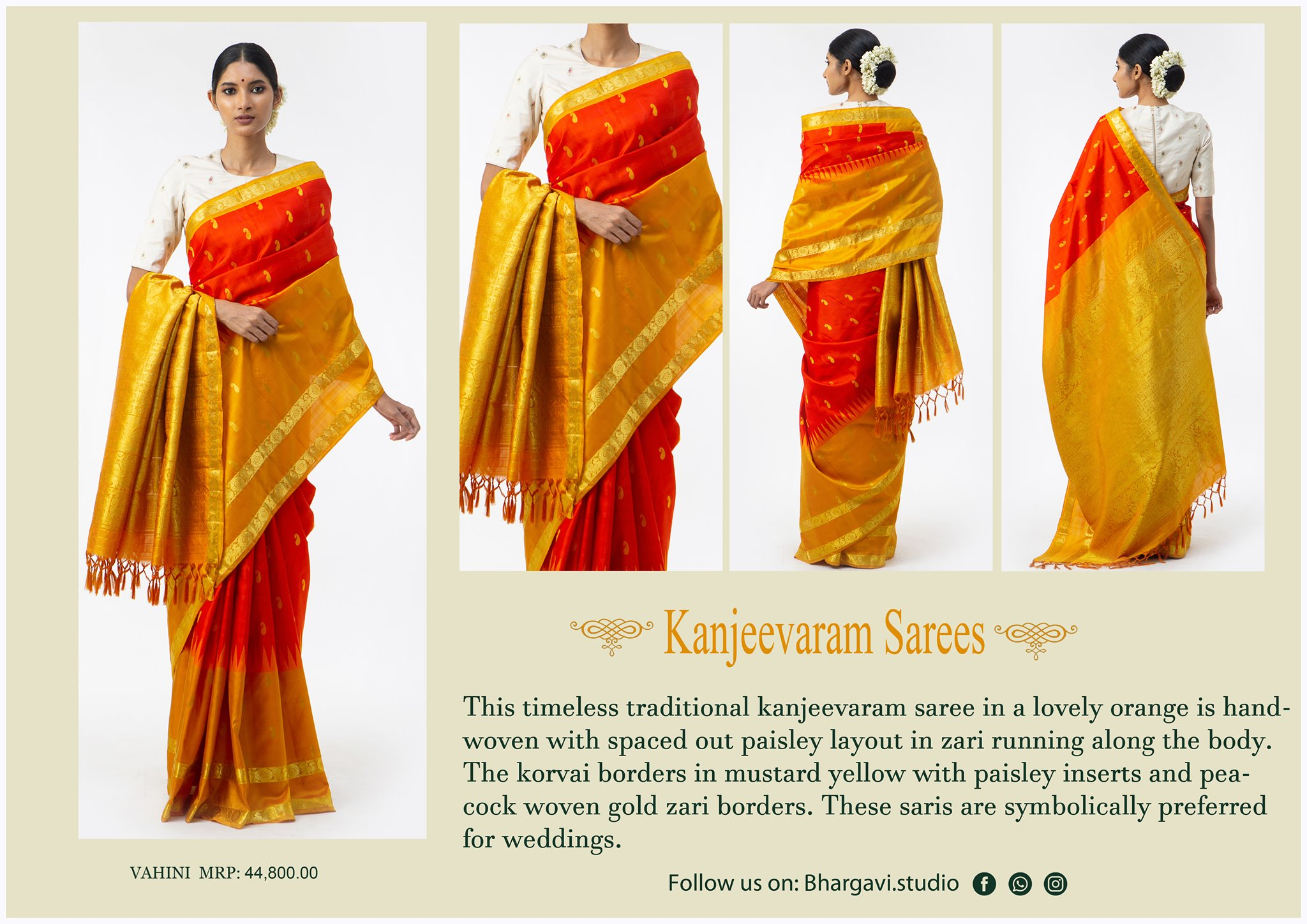 This timeless traditional kanjeevaram saree in a lovely orange is handwoven with spaced out paisley layout in zari running along the body. The korvai boarders in mustard yellow with paisley inserts and peacock woven gold zari boarders. 2021-05-13