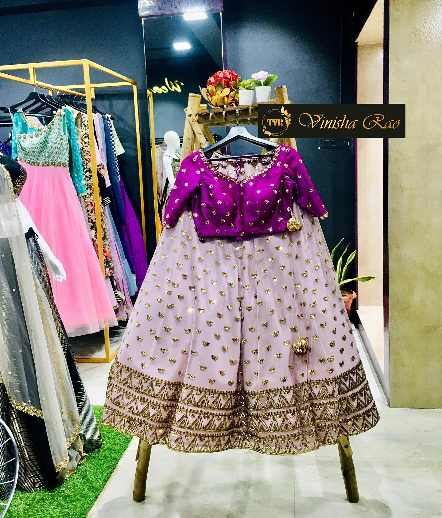 """Bridal Lehenga"" - pastel pink tulle bridal lehenga with heavy hand and embroiderd borders and over motifs teamed up with glass beads  sequence and pearls hand embroidered brown dupatta and paired with sequence hand embroidery purple silk blouse from the house of Vinisha rao designer studio !! Suitable for all kind of occasions !!