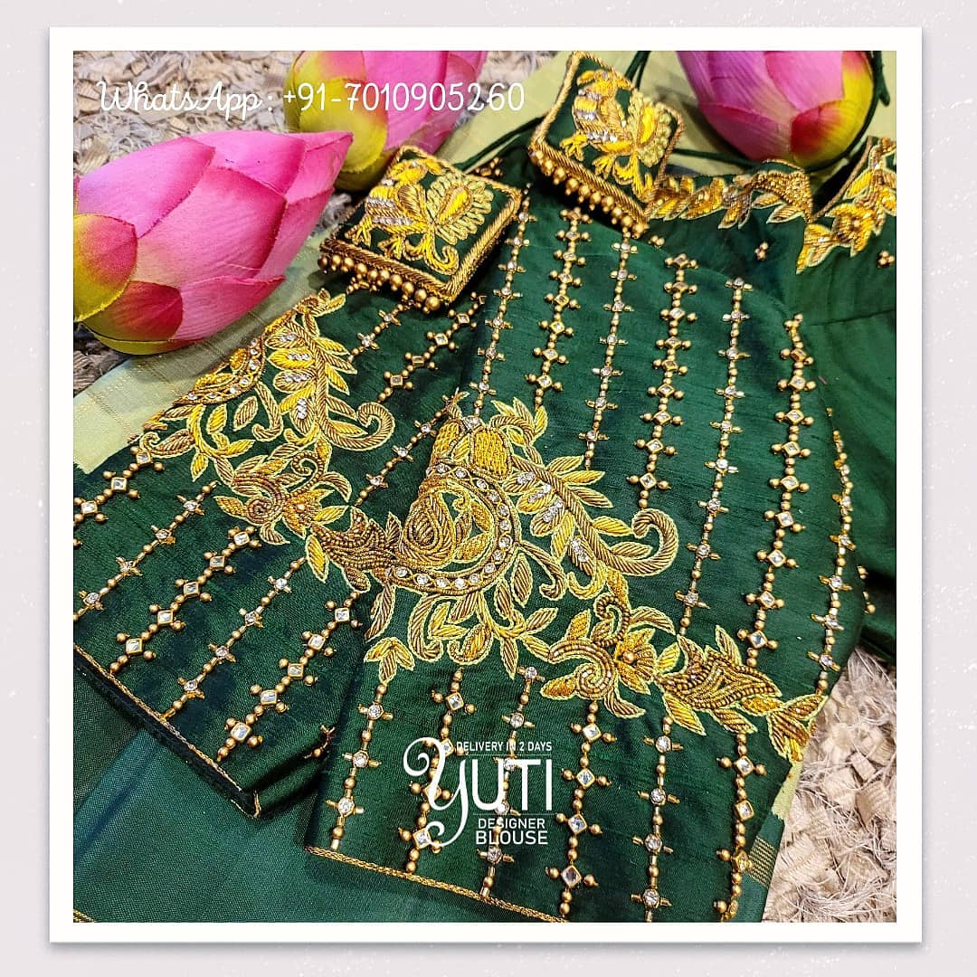 Stunning bottle green color blouse design with creeper hand embroidery bead and stone aari work.  2021-05-13