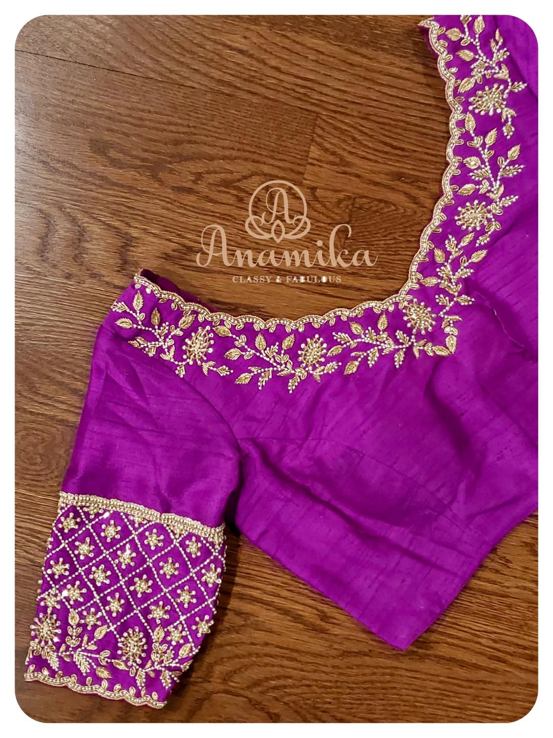 Gorgeous purple color blouse design with creeper design hand embroidery bead and silver thread aari work.   2021-05-13