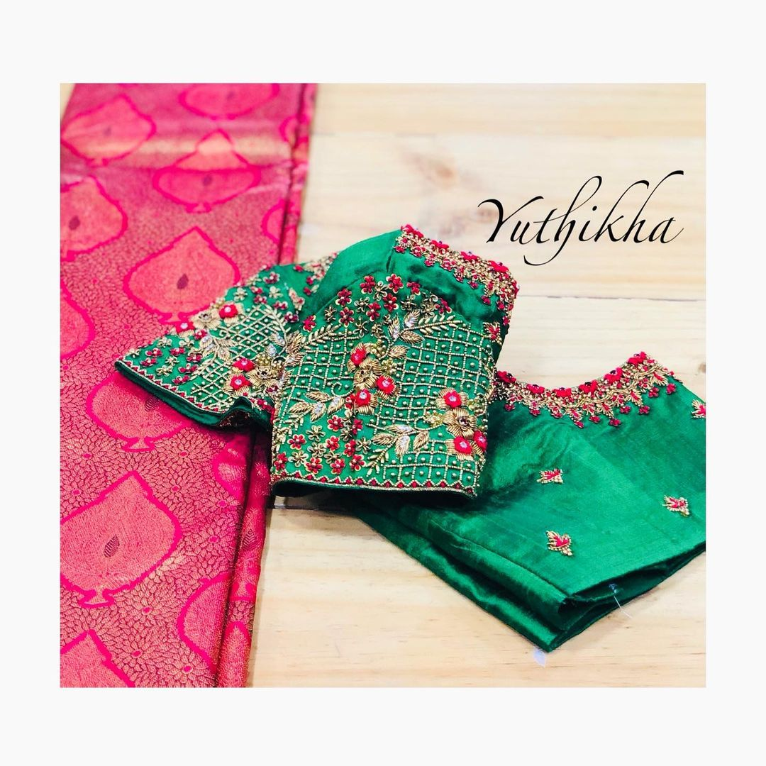Customised embroidery blouse from the house of yuthikha designer studio !!! Simple & Elegant sleeve embroidery from the house of Yuthikha designer studio!!!