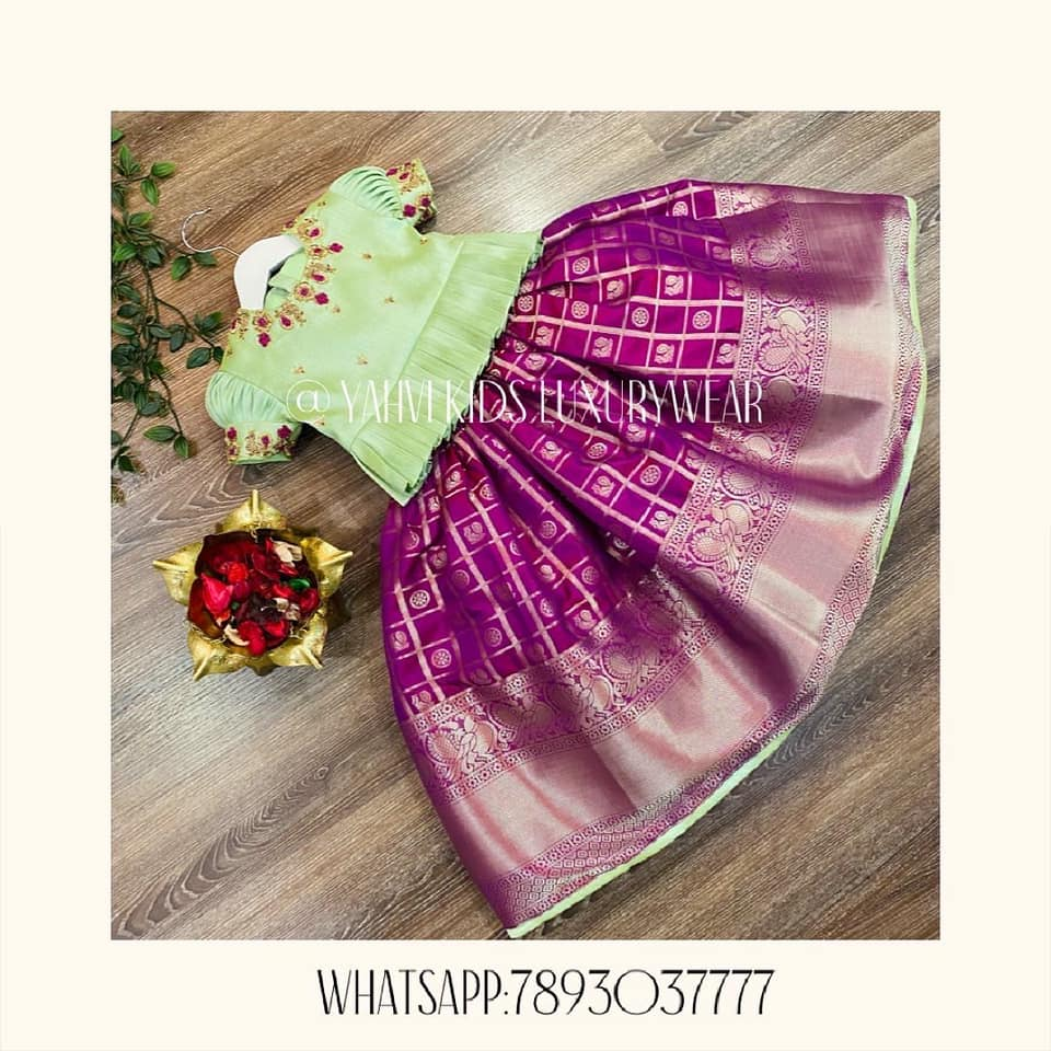 Caption : Simple and classic purple kids pattu lehenga and peplum top. . For orders : DM or whatsapp 7893037777( messages only  no calls plz )  2021-05-14