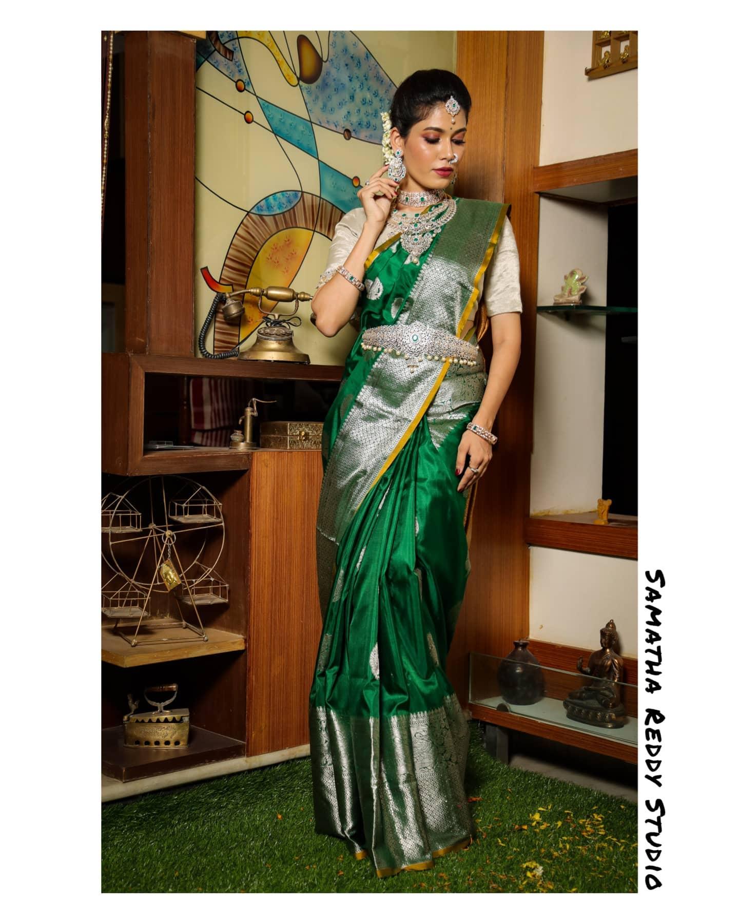 Leaf green color Venkatagiri Pattu Saree. 2021-05-15