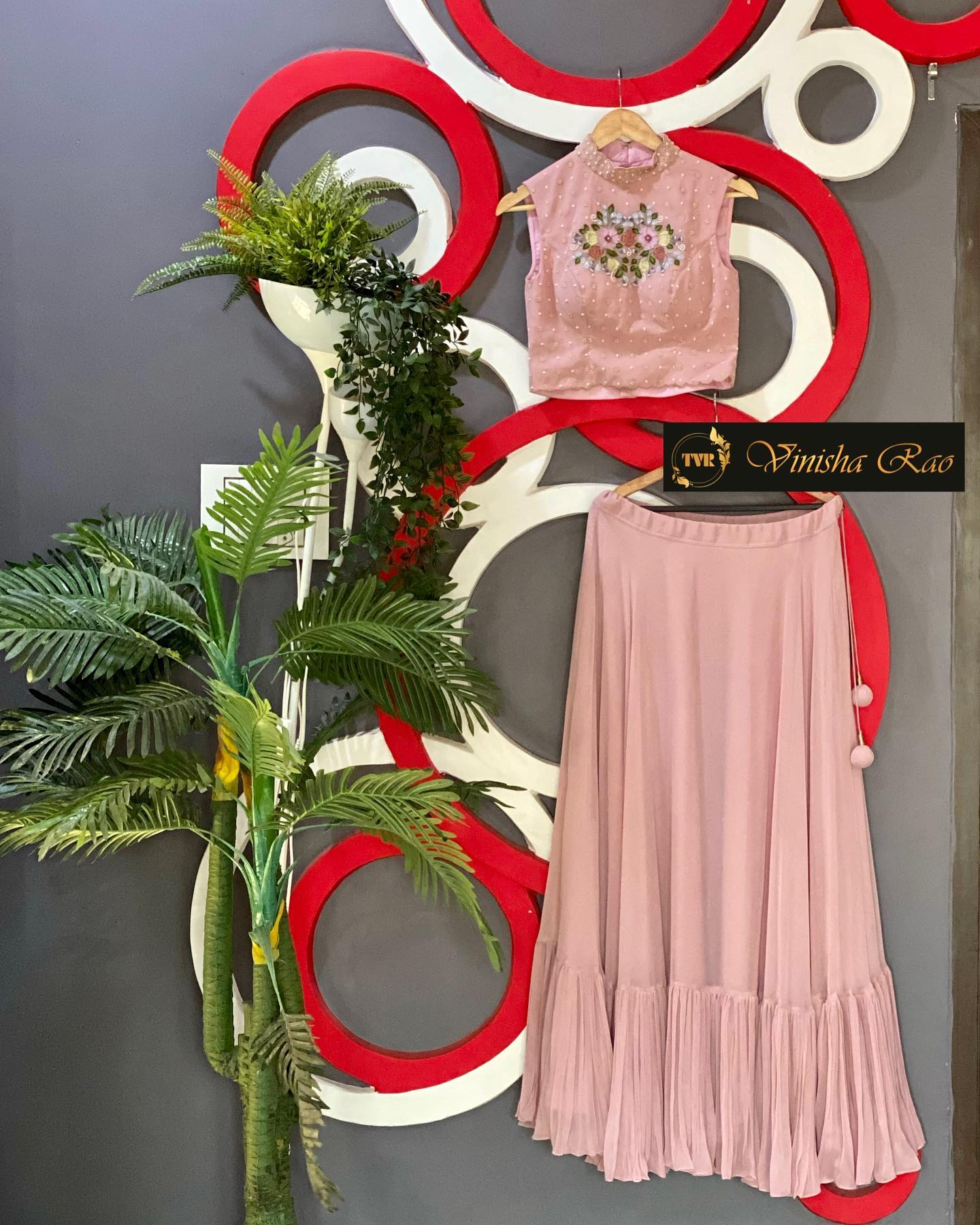 Blush pink georgette lehenga teamed with georgette blouse with hand embroidery work and having heavy pleats at the bottom of the lehenga from the house of Vinisha rao designer studio !! Suitable for all kind of occasions !!