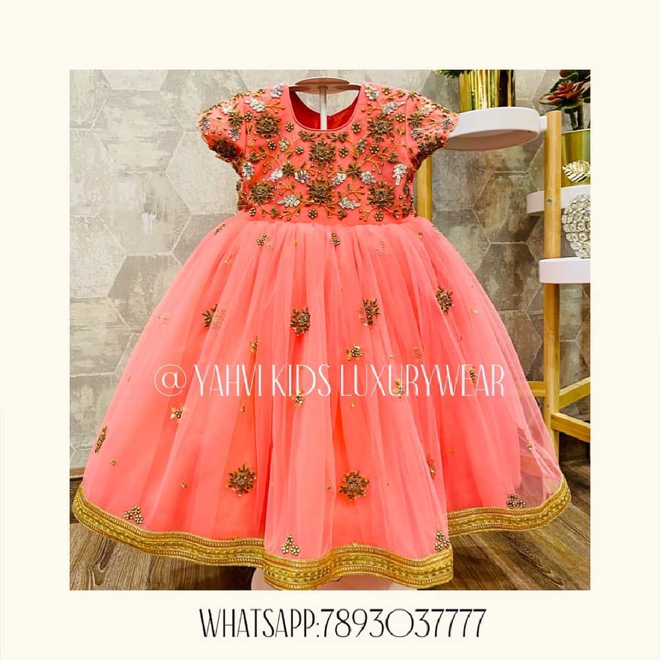 Amazing kids frocks in hand embroidery work are avaialble now in customised colours of your choice