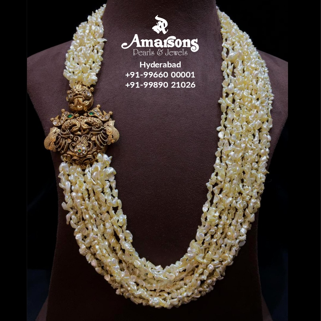 Ksea Pearls Mala with Gold Side Brooch from Amarsons jewellery.  2021-05-15
