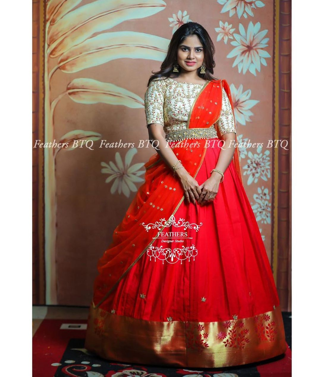 Stunning red color pattu langa voni. Blouse with hand embroidery aari work.  2021-05-15