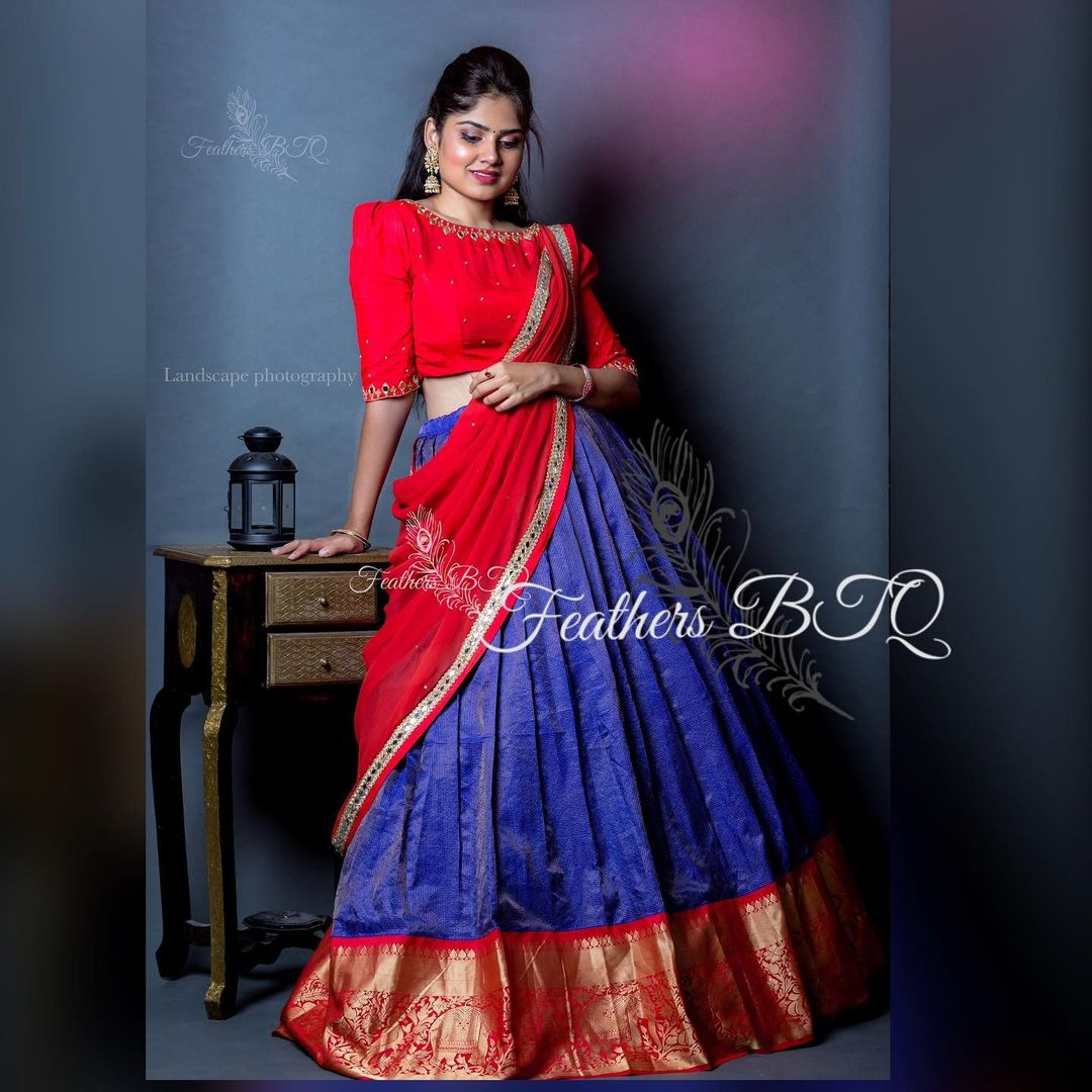 Stunning red and blue color cmbination pattu langa voni. Blouse with hand embroidery aari work.  2021-05-15