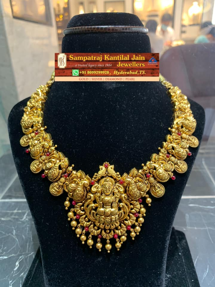 Classic yet Traditional Deep Nakshi work temple necklace. 2021-05-16