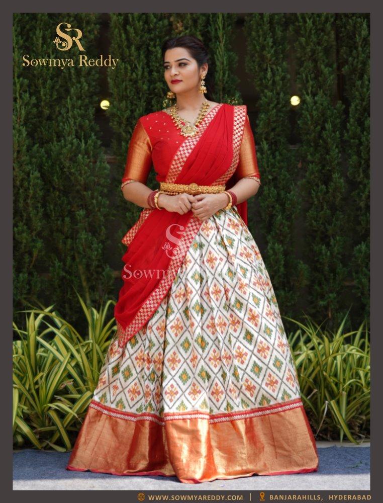 Ikkat Pattu Bridal Lehenga - Designer custom made Lehengas for Reception / Engagement / Mehendi. 2021-05-16