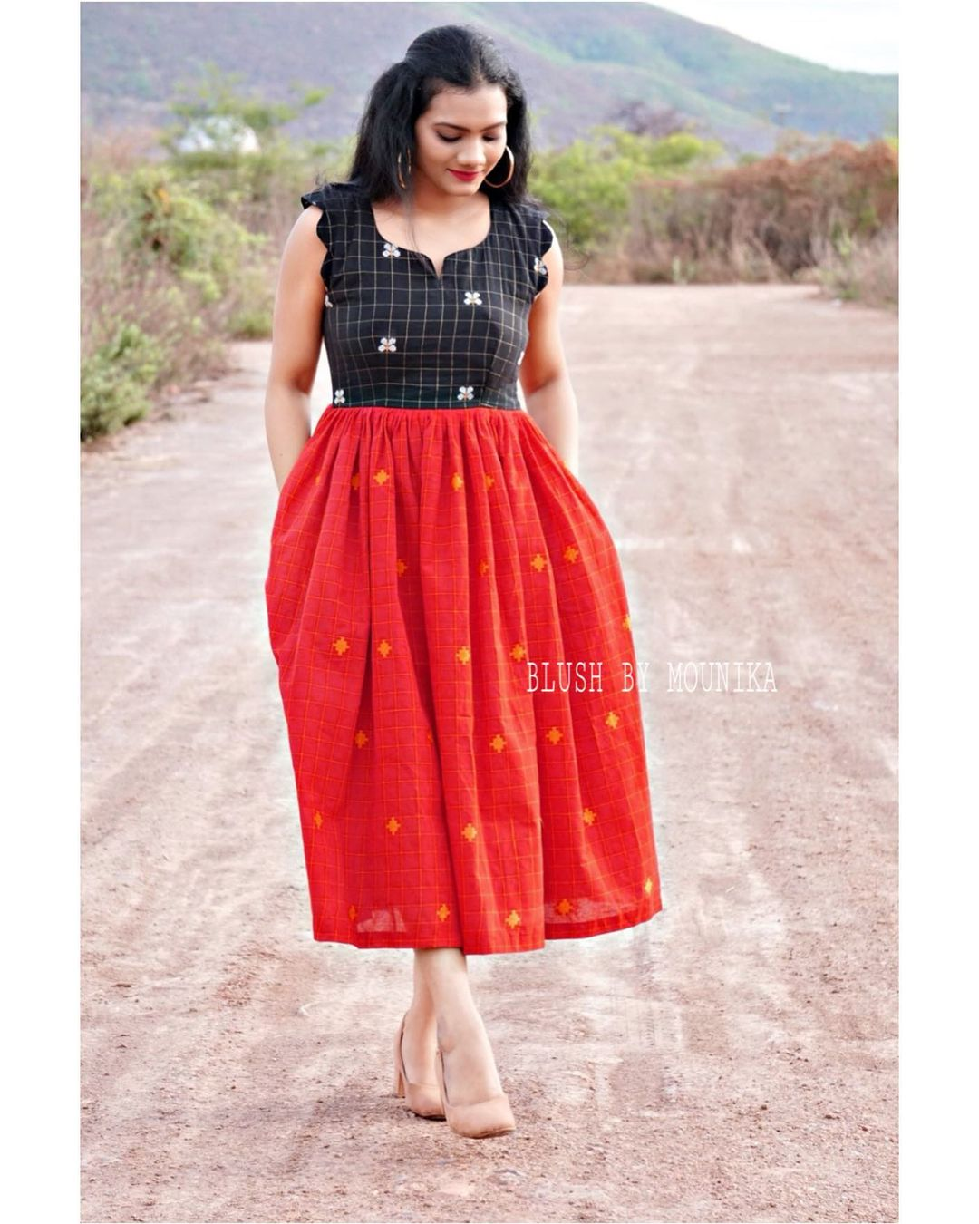 Tara. Red and Black Handloom dress with Handwoven motifs. The dress has pockets and cotton lining. Comes with a detachable thread to make a bow. Price :  ₹2850/-  2021-05-16