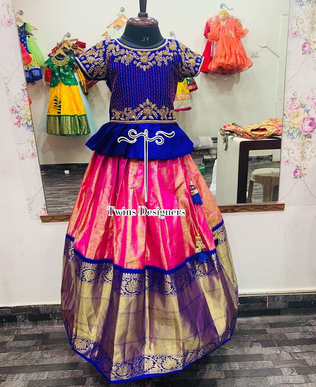 Customised Kanchi pattu kids lehenga and peplum top. customisedoutfit For orders call/WhatsApp:8374504389/9059693997 2021-05-16