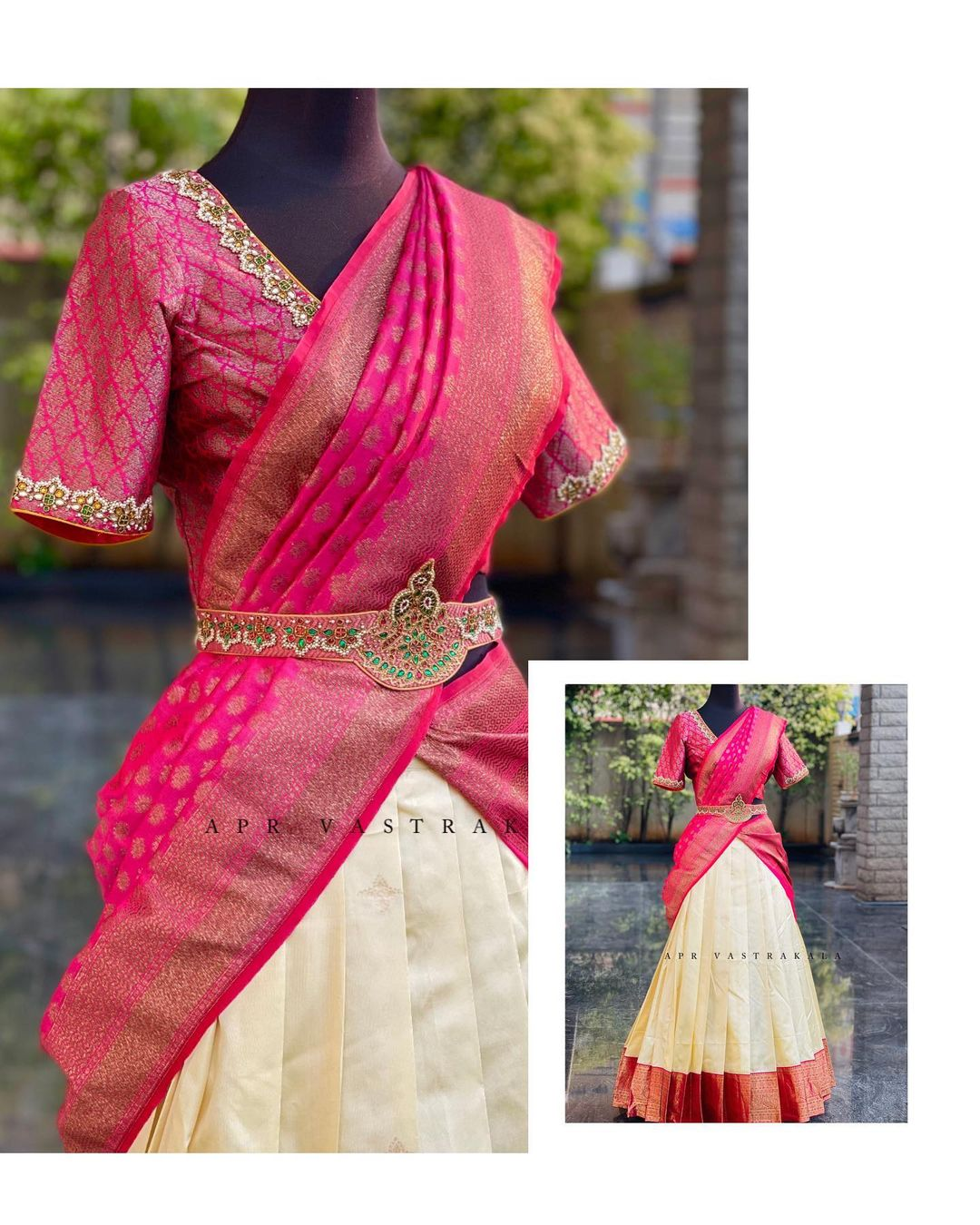 Ethnic waist belt…Kundan detailing done to perfection! Beautiful off white and pink color combination traditional pattu langa voni.   2021-05-16