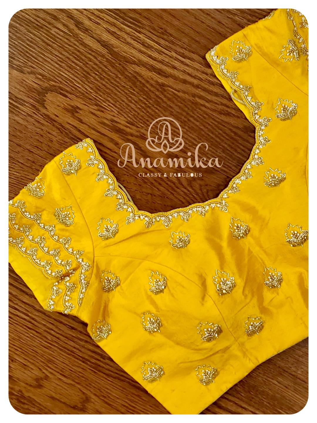 Stunning yellow color blouse with bead and stone simple zardosi work. 2021-05-17