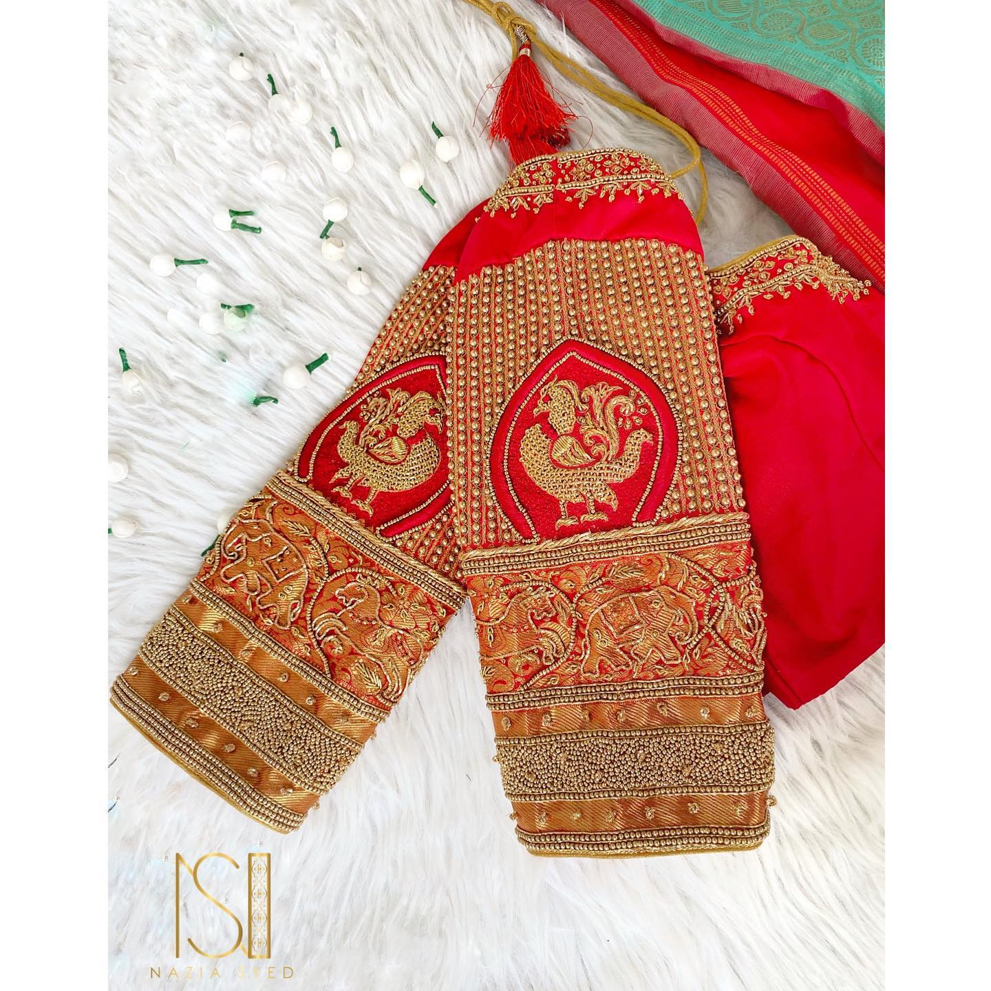 Make your at home celebrations beautiful in classic red embroidered bespoke blouse! Stunning red color blouse with bead aari work. Dm or whatsapp to 7092586311 to place your orders. 