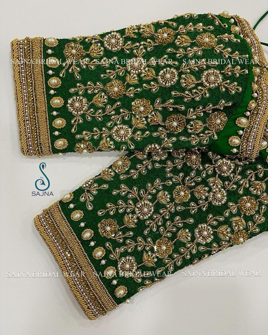 Gorgeous mehndi green color  designer blouse sleeves with floral bead aari work. 2021-05-17