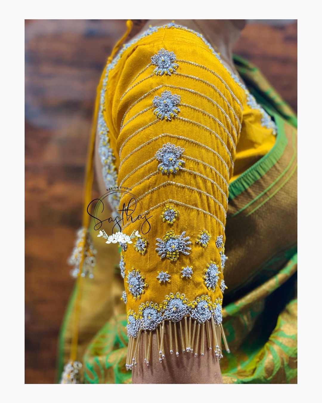 Stunning mustard yellow color bridal blouse with hand embroidery  work. 2021-05-17