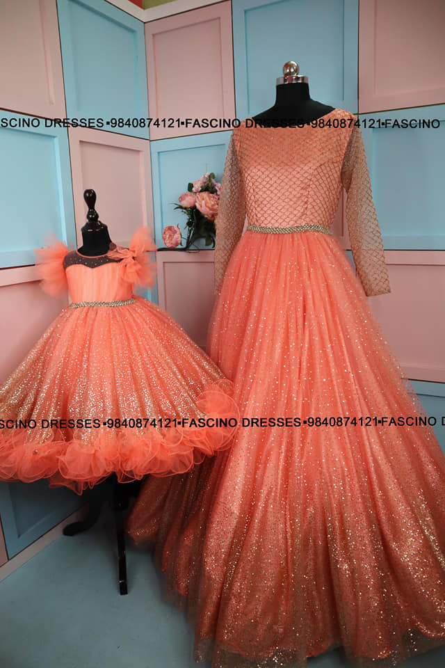 A peach with golden mom and daughter combo .  A creation from Fascino . Wats app or inbox to order 9840874121 Can customize in any color / size 2021-05-18