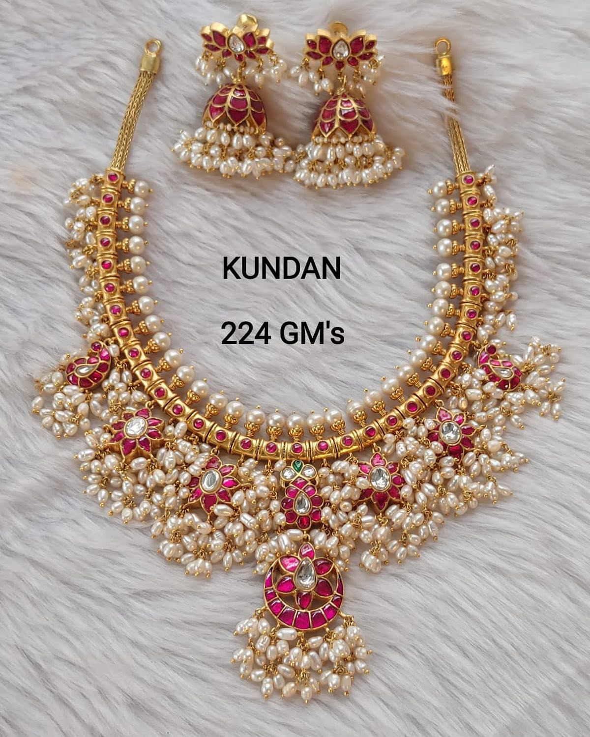 Exclusive Guttapusalu necklace in kundan stones Only avlbl. Gold replica designs in silver For orders Dm @7981196428 2021-05-18