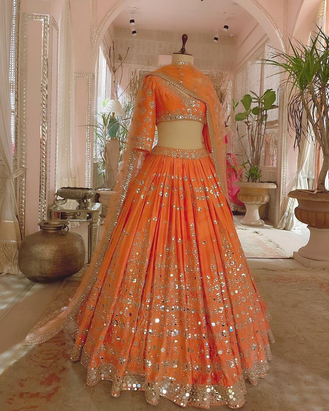 Orange Magic. Abhinav Mishra signature workmanship animates this subtle hue for an understated elegance like no other. Ensembles that exude royalty finesse and eternal charm that is the world of Abhinav Mishra. 2021-05-18
