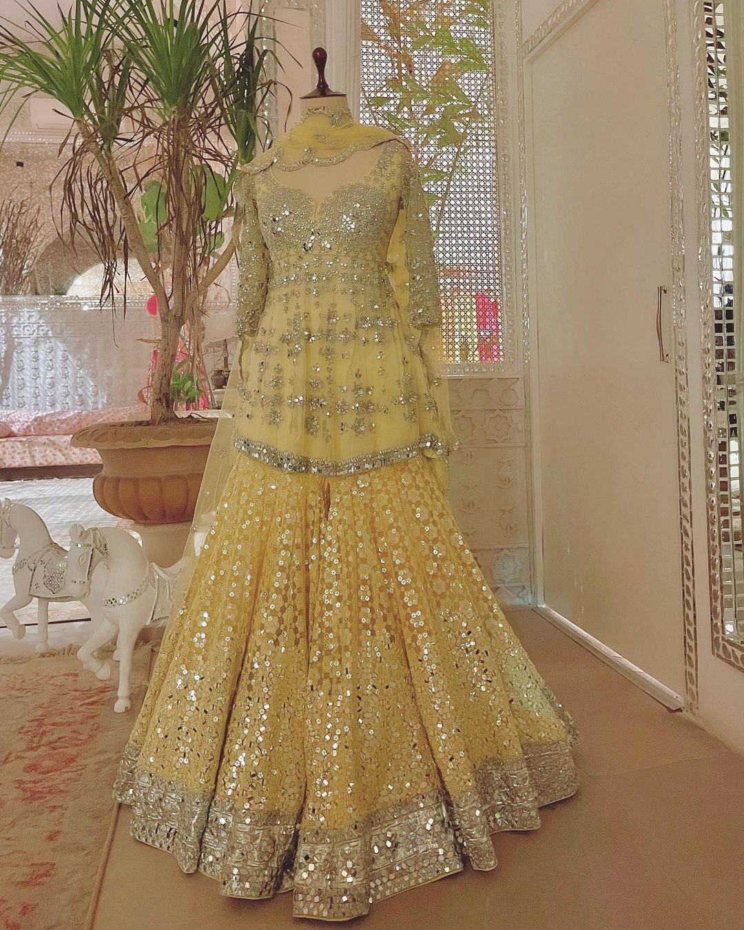 Yellow Magic.  Stunning lime yellow color peplum top and bottoms with hand embroidery  classy work. 2021-05-19