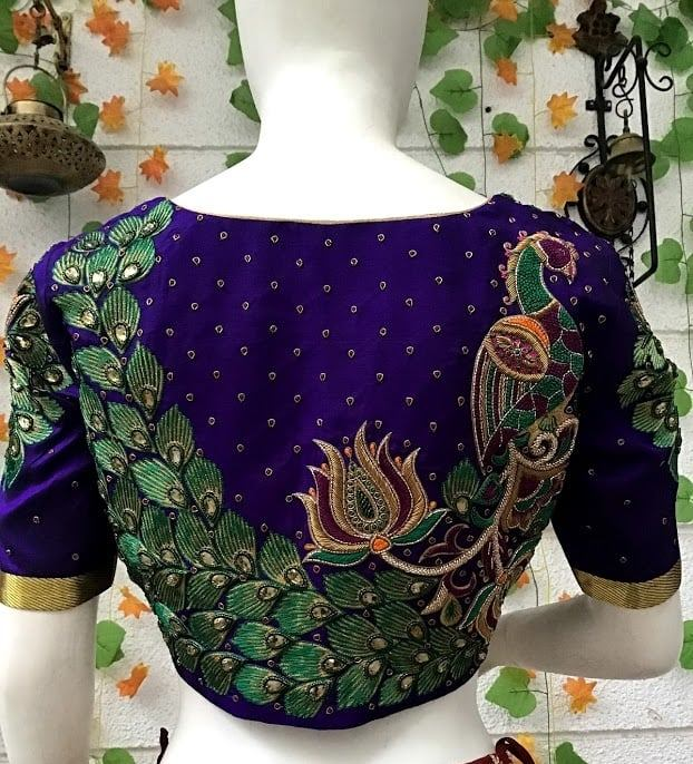 Traditional peacock embroidery royal blue blouse design! . . . Designed by Lavender The Boutique For details-