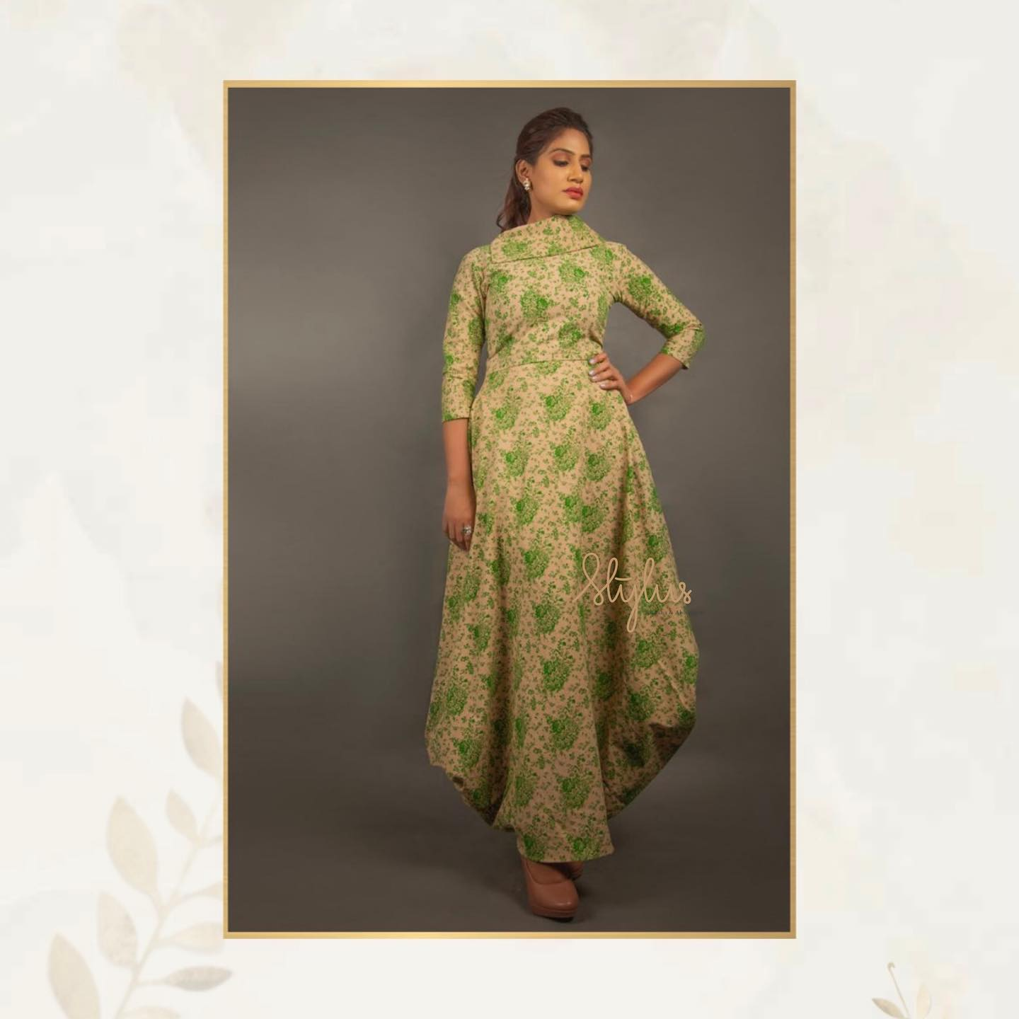 Another glamorous outfit with the amalgamation of shades of green. A beautiful printed one piece with a designer look. Fashionable and chiq. 2021-05-20
