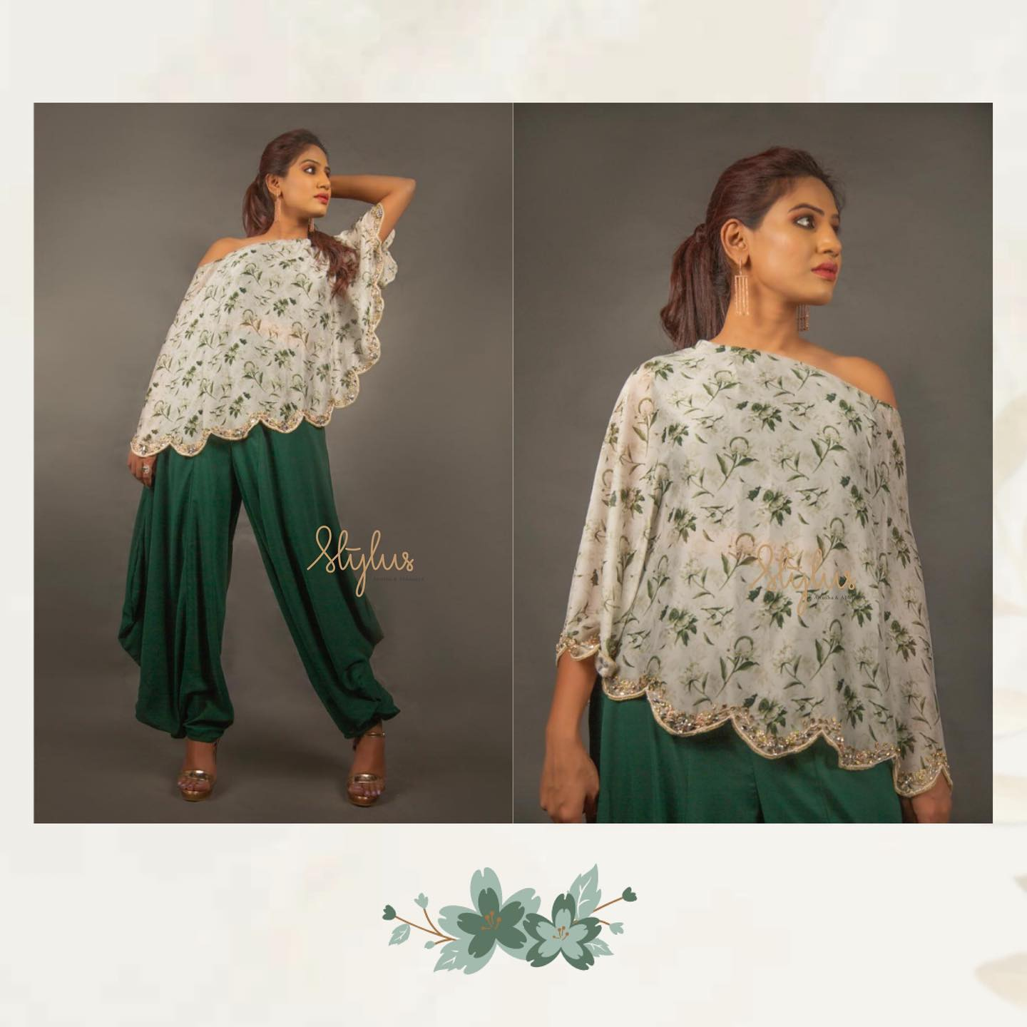 Floral collection couldn't get any better! Look at the amalgamation of shades of green in a designer piece with a cape! Such a subtle yet bold outfit. Fashionable and chiq. 2021-05-20