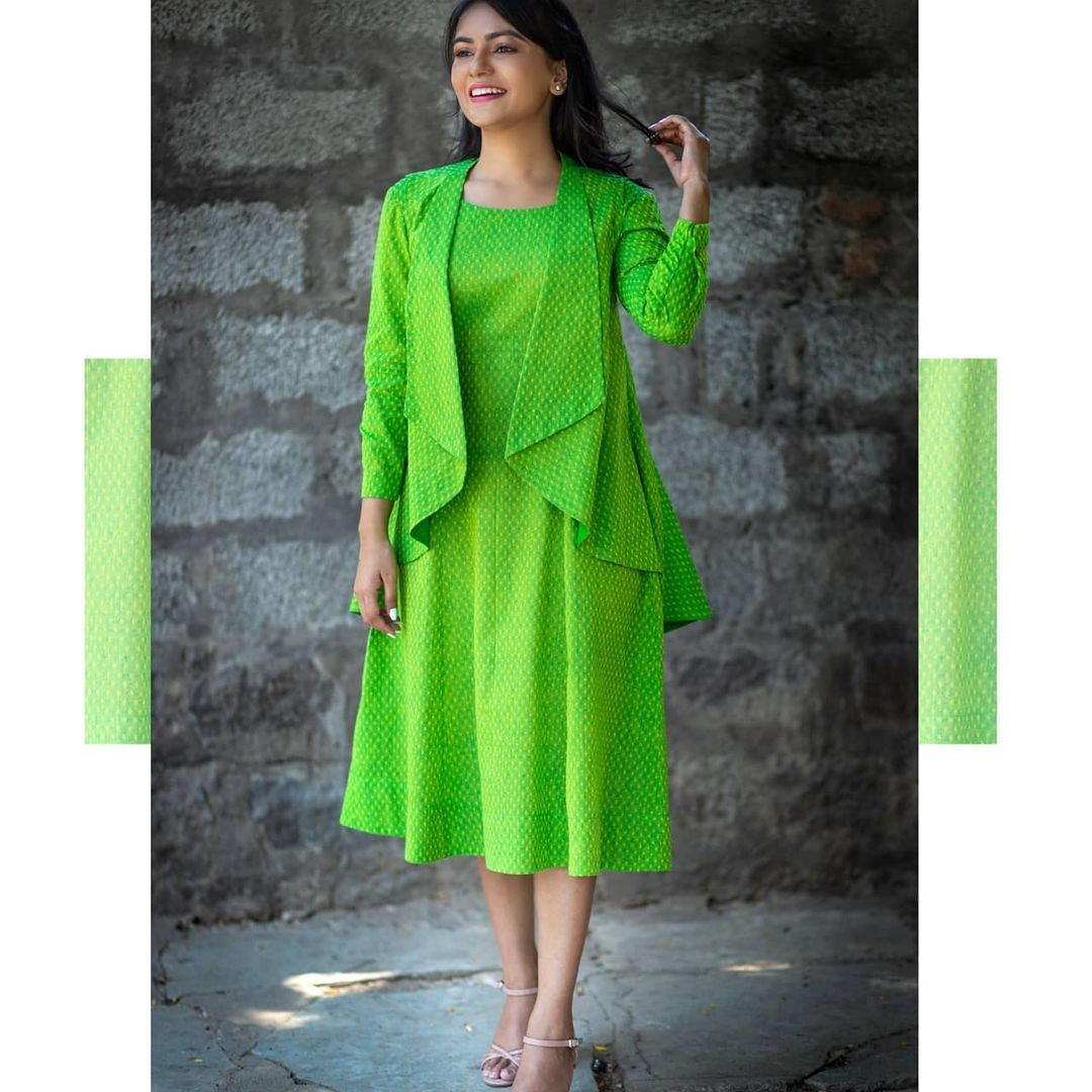 Brighten your sunny days with summer green dress tunic with a waterfall shrug. Wear it at your next virtual meeting and be summer ready. 2021-05-20