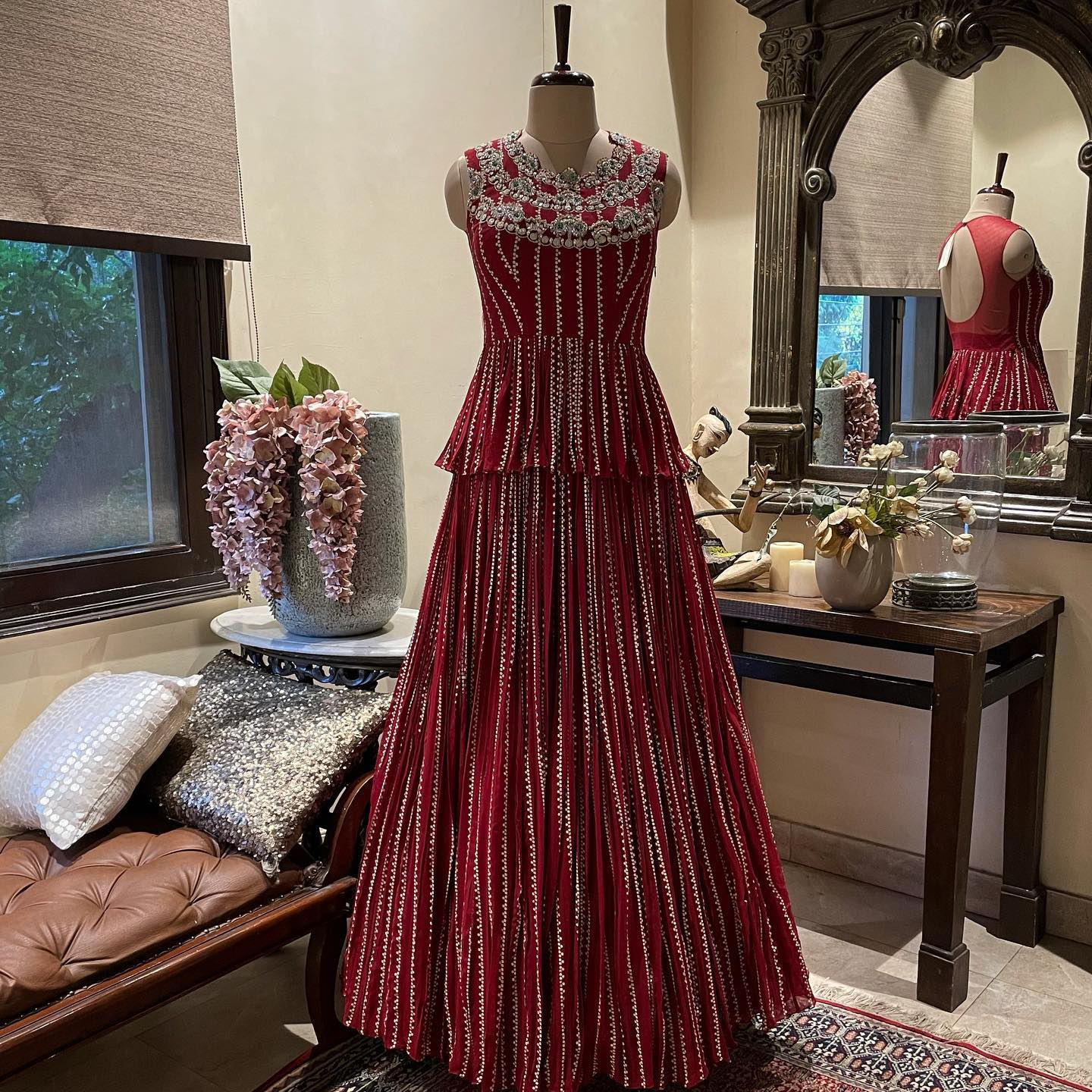 New Arrivals . Festive 2021 . . This red nukta print embroidered peplum top with printed skirt from  Festive 2021 collection. . 2021-05-21