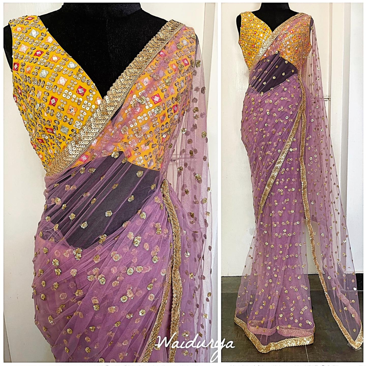 HARLOW - ONLY ONE AVAILABLE!  Love this look! The colors are everything and more! Deep lilac fully sequin cluster embroidered sari in a soft net that drapes beautifully.  The border is a hand made heavy sequin worked one. So rich and vibrant!!! The blouse!!! Loooove the bright yellow pink peach and red color blend with mirror work thread embroidery and sequin embroidery! Doesn't get better than this 2021-05-21