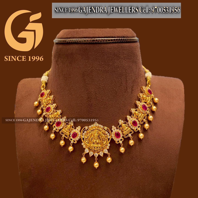 Beautiful 22k gold Lakshmi  motif necklace studded with multi precious stones. 2021-05-21