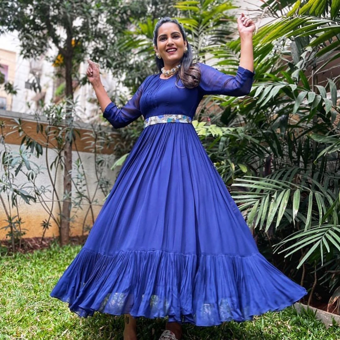 Beautiful actress Himaja in blue color floor length dress. 2021-05-21