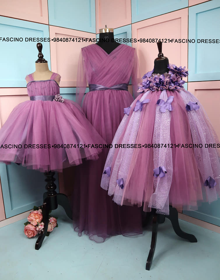 A pastel purple family combo .  Creation from Fascino  Wats app or inbox to order 9840874121. Can customize in any color / size. 2021-05-22