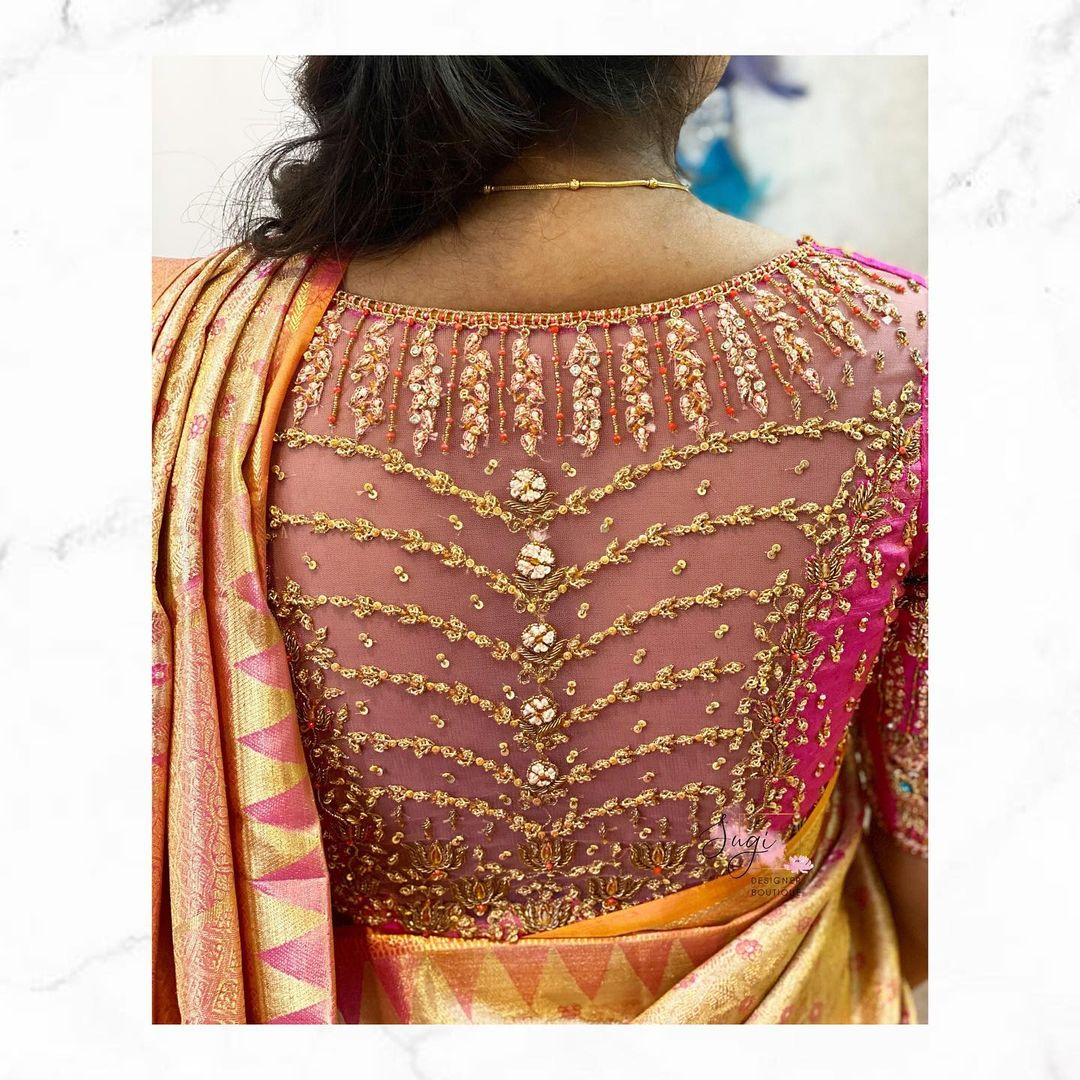 Gorgeous sheer back bridal blouse design with hand embroidery aari work.   2021-05-22