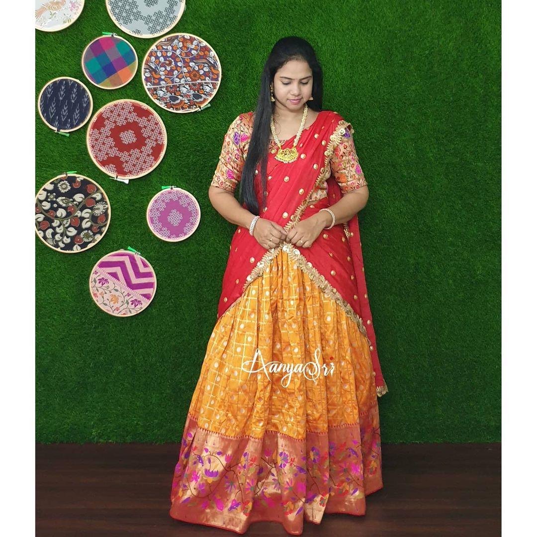 Yellow Paithani. Price :  RS. 6500/- Yellow traditional paithani lehenga with chiffon motiworked dupatta. Perfect as a haldi outfit ! 2021-05-22
