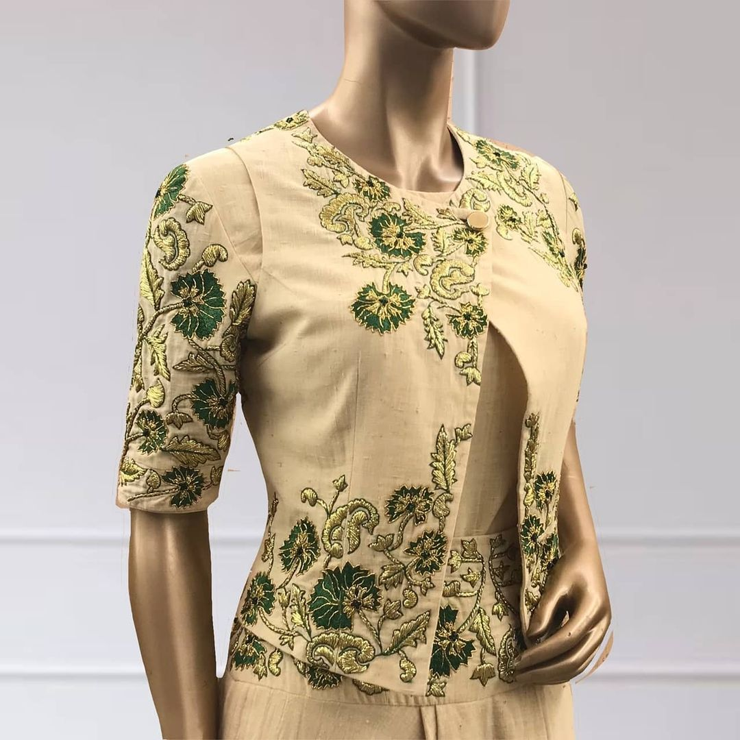 A fabric with infinite advantages along with being summer friendly and rich in culture it also has less carbon foot-print on the environment which is why it becomes an intelligent fabric. Here is how they are bringing back the fabric in a new silhouette. The crossover jacket with green thread embroidered motifs inspired by nature. The asymmetrical hemline only in  Shilpa Reddy Studio silhouette. 2021-05-23