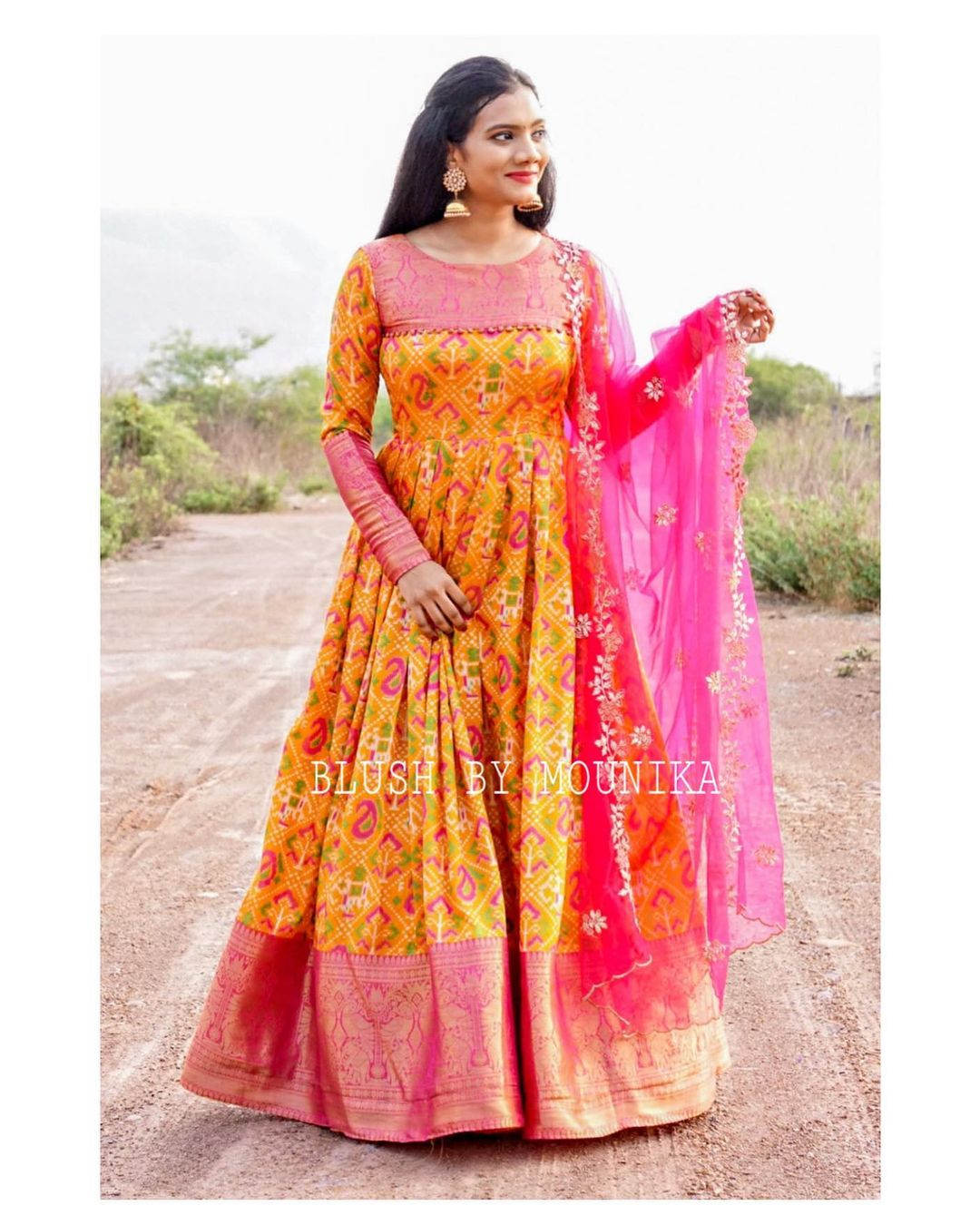 Yellow Soft Silk Price : ₹6980/- Yellow soft silk dress paired with a net cut-work dupatta. Can Can attached to the flare and Finished with double lining.  2021-05-24