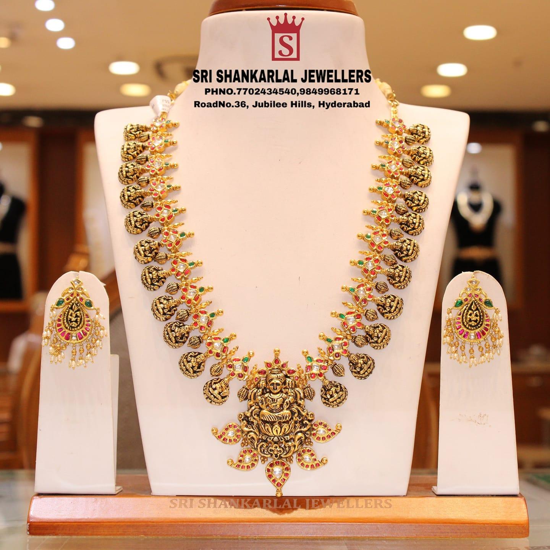 Latest kundan Laxmi long Haram and Earrings in light weight heavy looking JEWELLERY. 2021-05-25