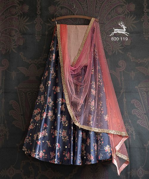 Price : ₹ 32800 INR  SMF LEH 820 119 | Blue floral badla Lehengas and pink-peach shaded bald dupatta with a dusty pink thread-work sequin blouse. 2021-05-25