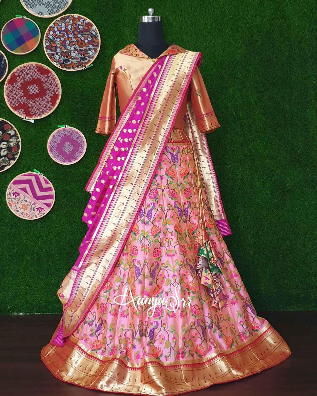 Pink Paithani.  RS. 9600/- Pink traditional paithani lehenga with gold paithani blouse and contrast purple paithani dupatta. This is perfect for weddings and looks grand and elegant !! 2021-05-25