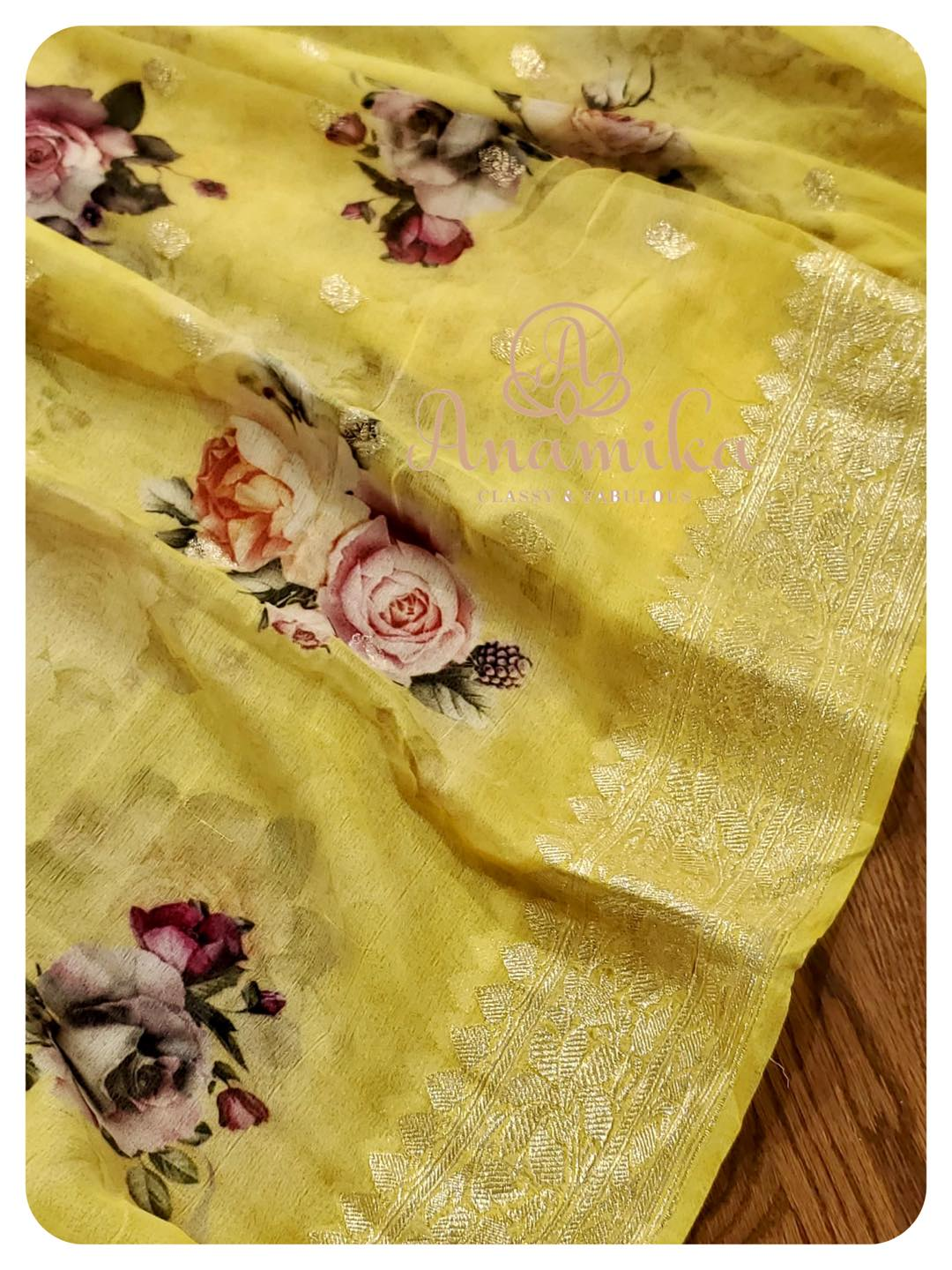 Favorite Banarasi Chiffon sarees now enhanced with Digital Floral Prints. Grab yours now - and be the trend setter.  So light so soft and so easy to drape - yet so Stylish and Unique !  DM 360-545-3636 for inquiries 2021-05-26